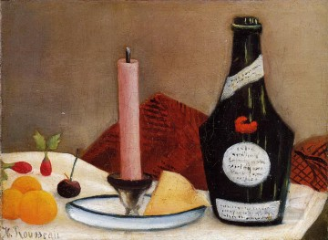 the pink candle 1910 Henri Rousseau still life decor Oil Paintings
